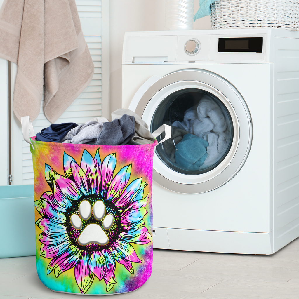 dog paw flower tie dye all over printed laundry basket 2