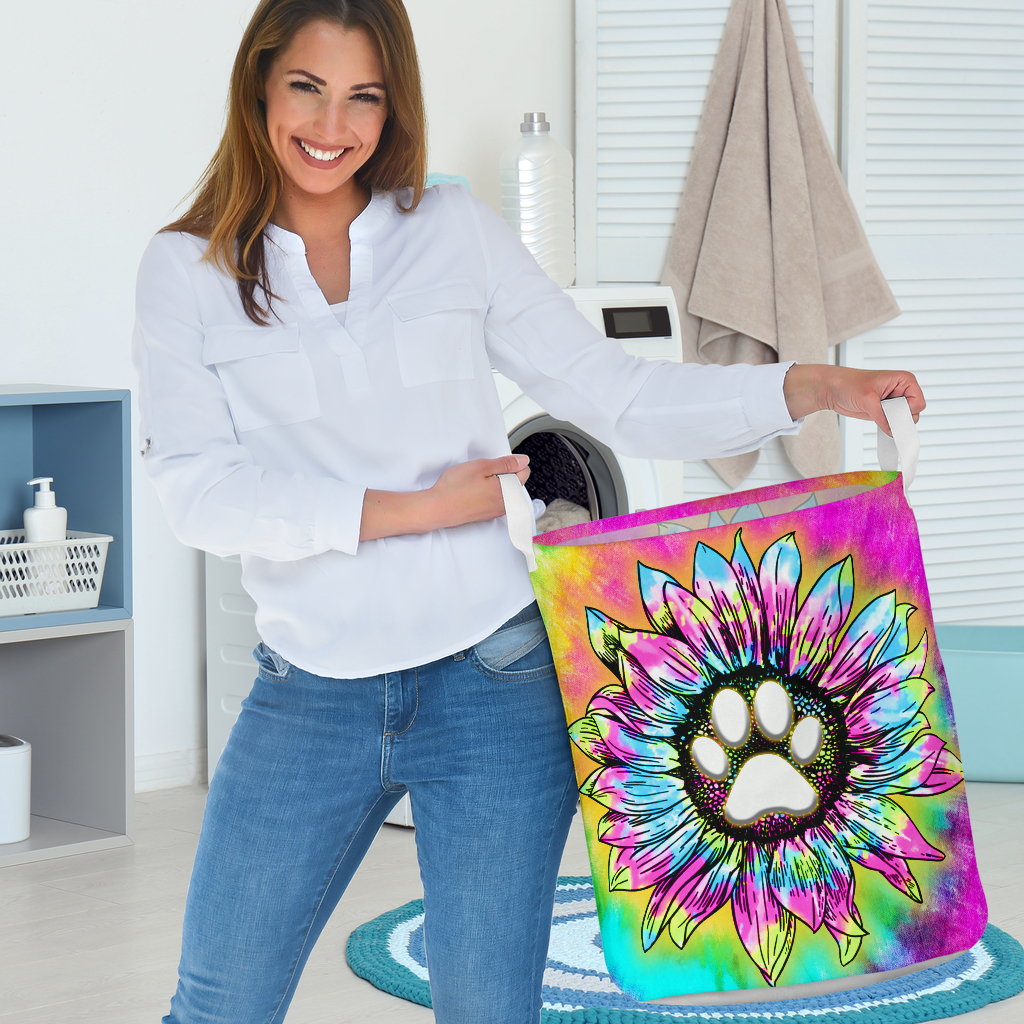 dog paw flower tie dye all over printed laundry basket 3