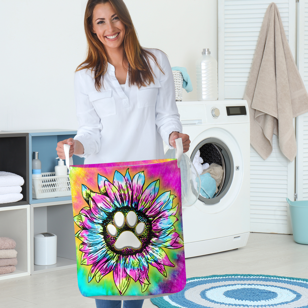 dog paw flower tie dye all over printed laundry basket 5