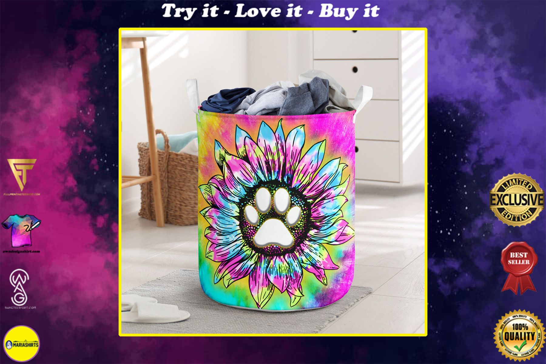 dog paw flower tie dye all over printed laundry basket