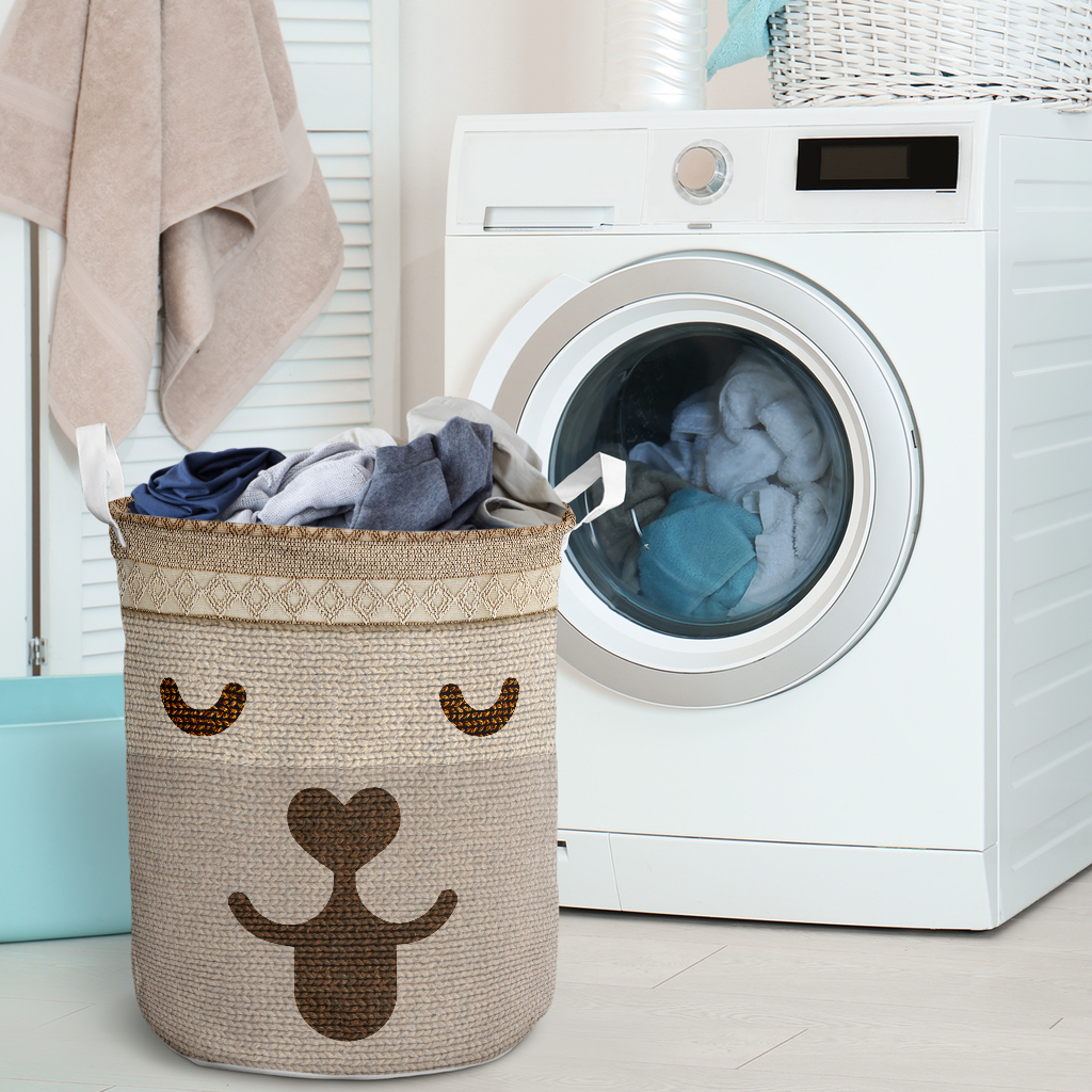 dog woven all over printed laundry basket 2