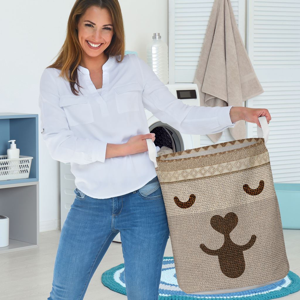 dog woven all over printed laundry basket 3