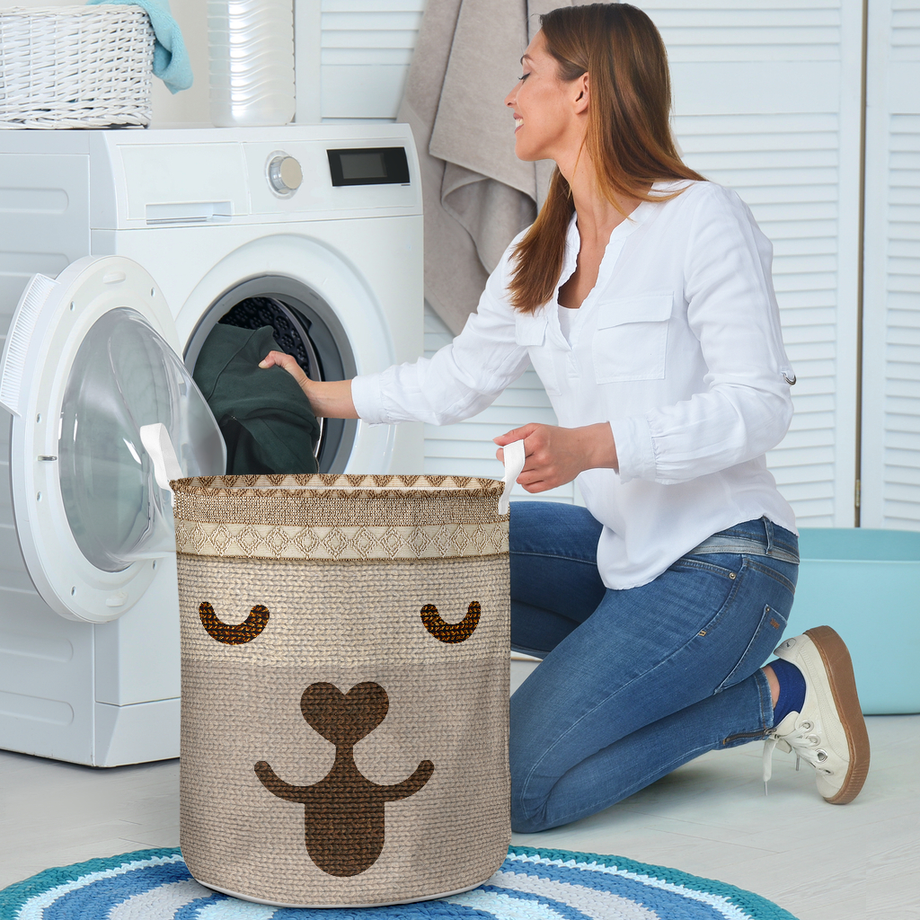 dog woven all over printed laundry basket 4