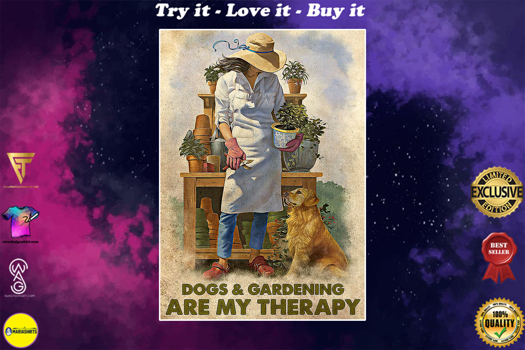 dogs and gardening are my therapy vintage poster