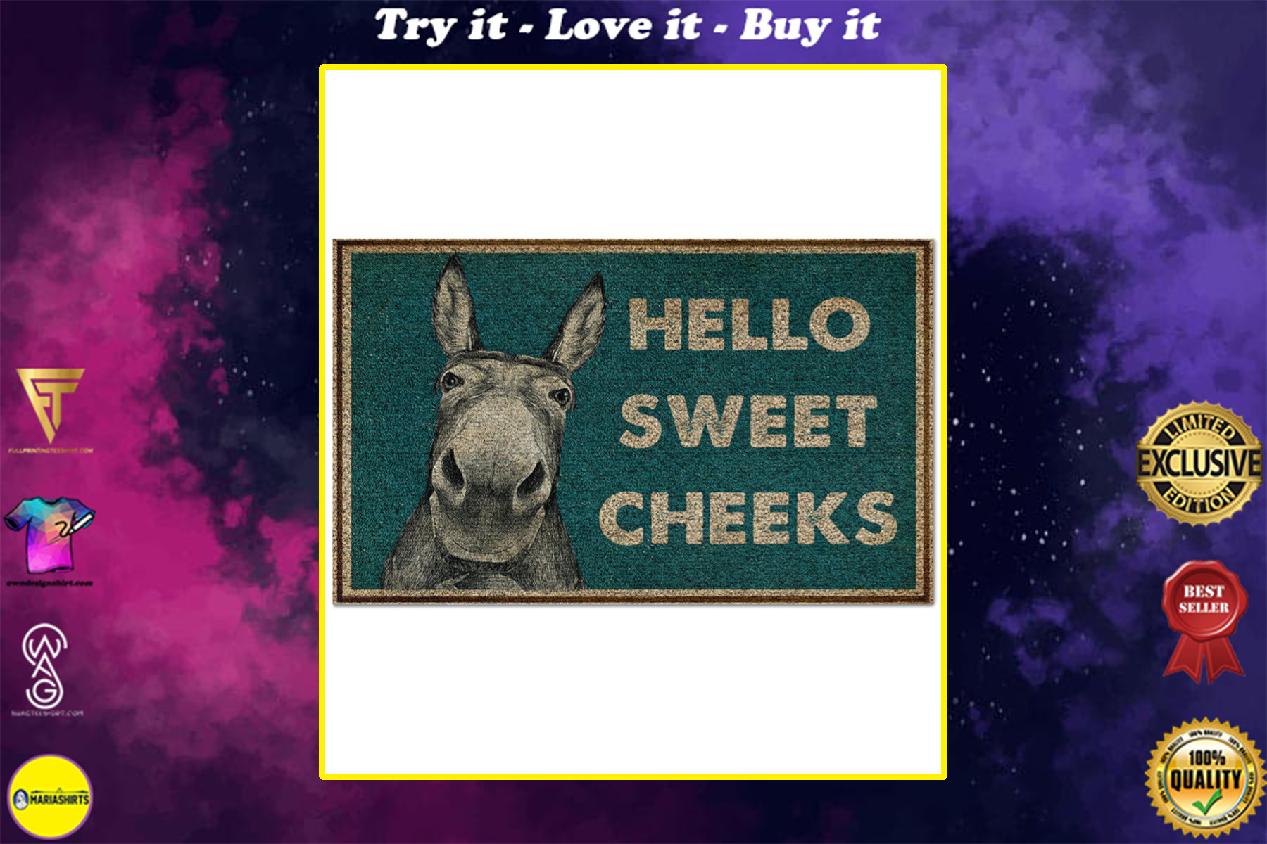 donkey hello sweet cheeks full printing doormat