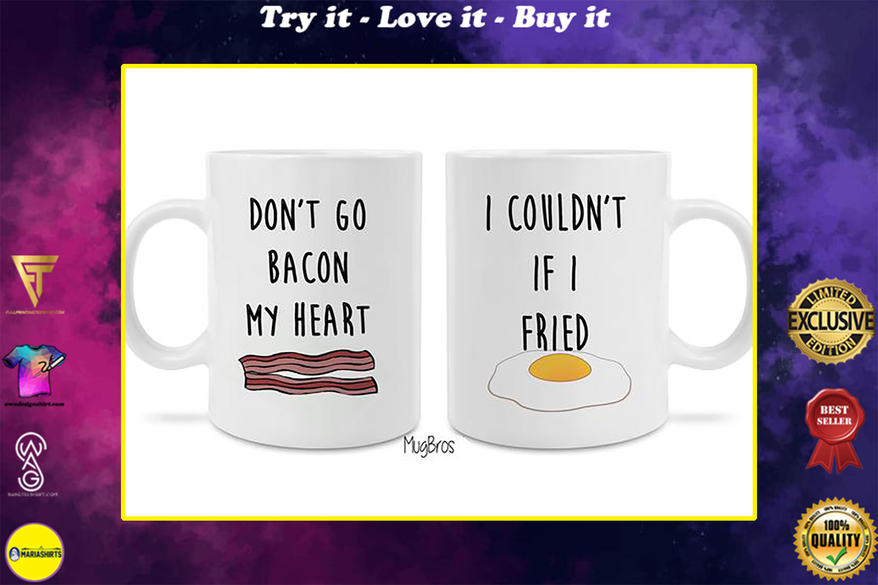 dont go bacon my heart i couldnt if i fried eggs and bacon coffee mug