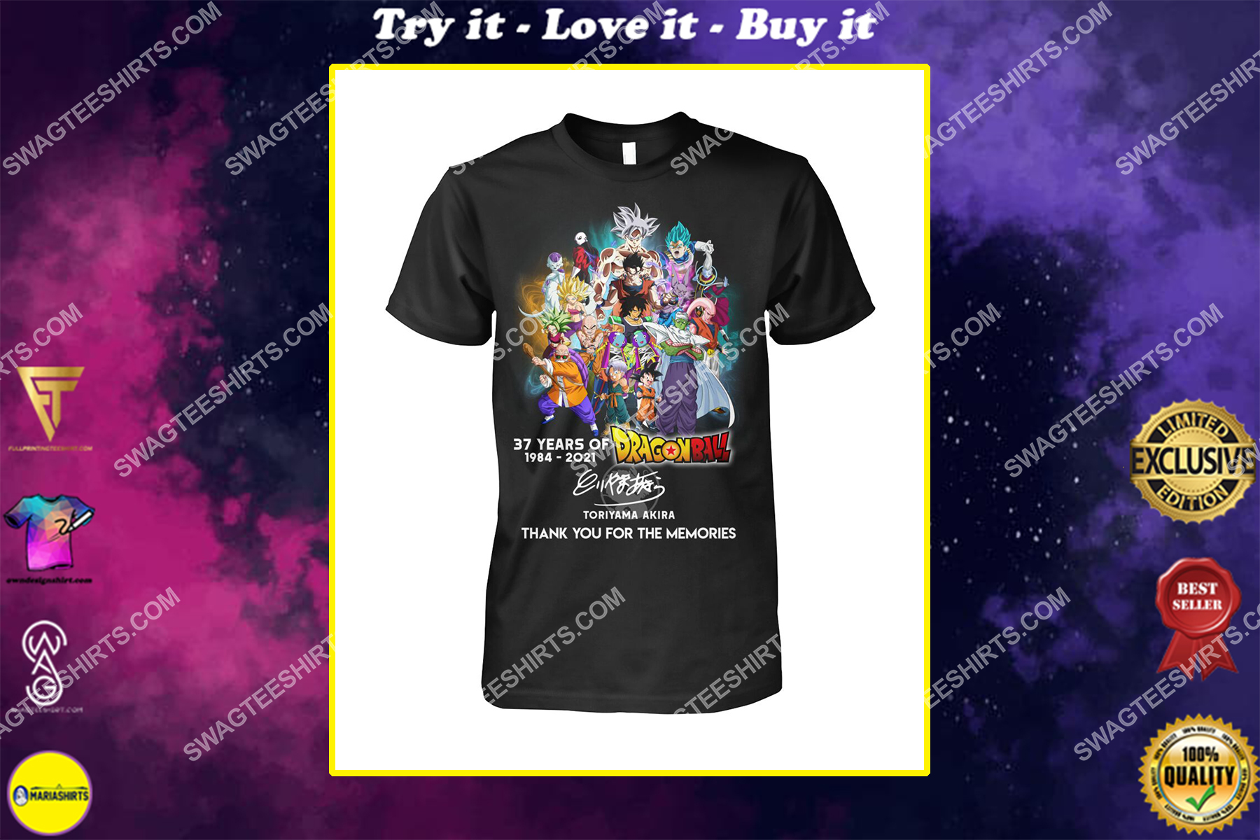 dragon ball z 37 years thank you for memories signatures shirt