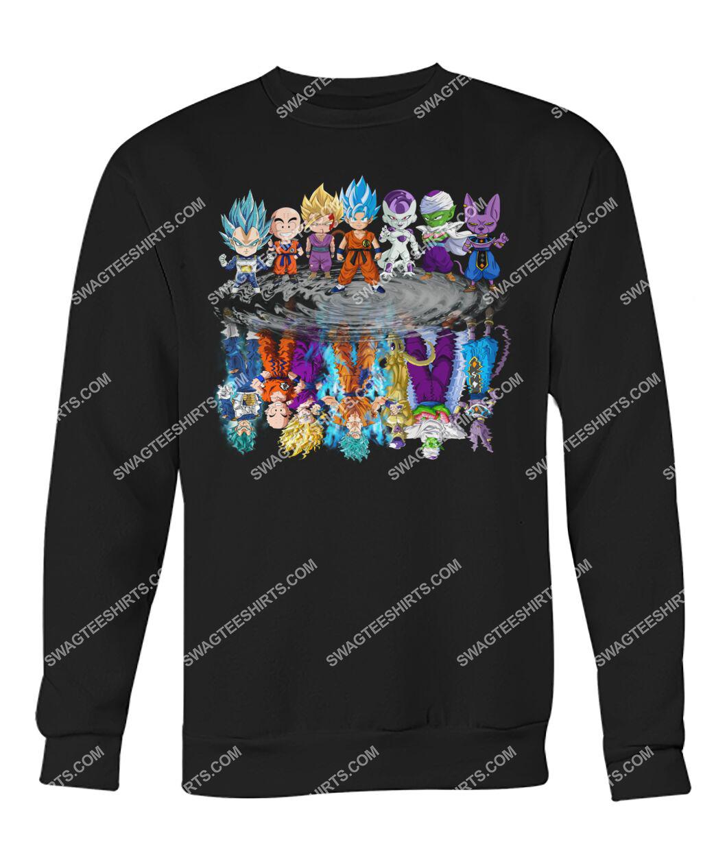 dragon ball z characters chibi water reflection sweatshirt 1