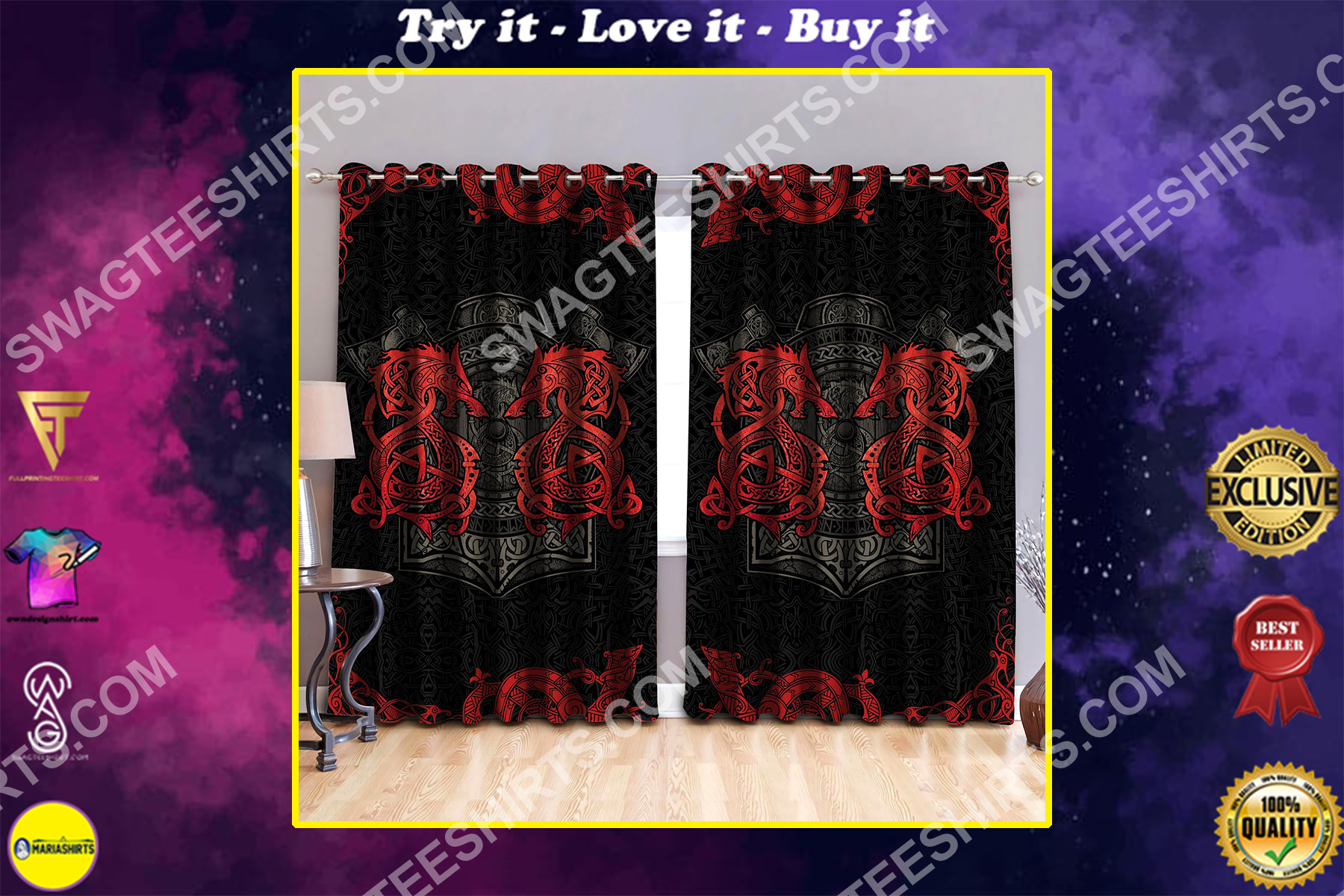 dragon viking all over printed window curtains