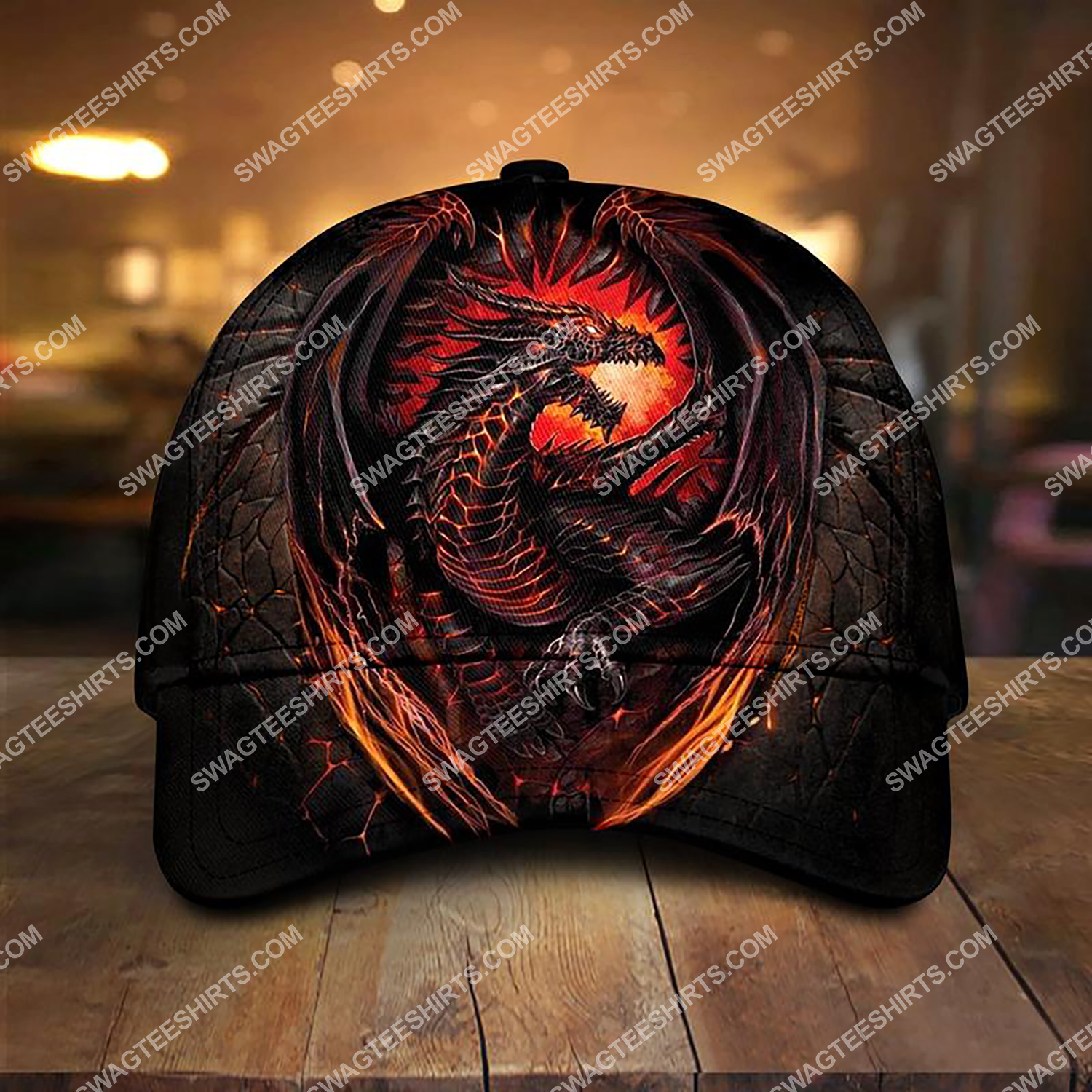 dragon with fire all over printed classic cap 3 - Copy (2)
