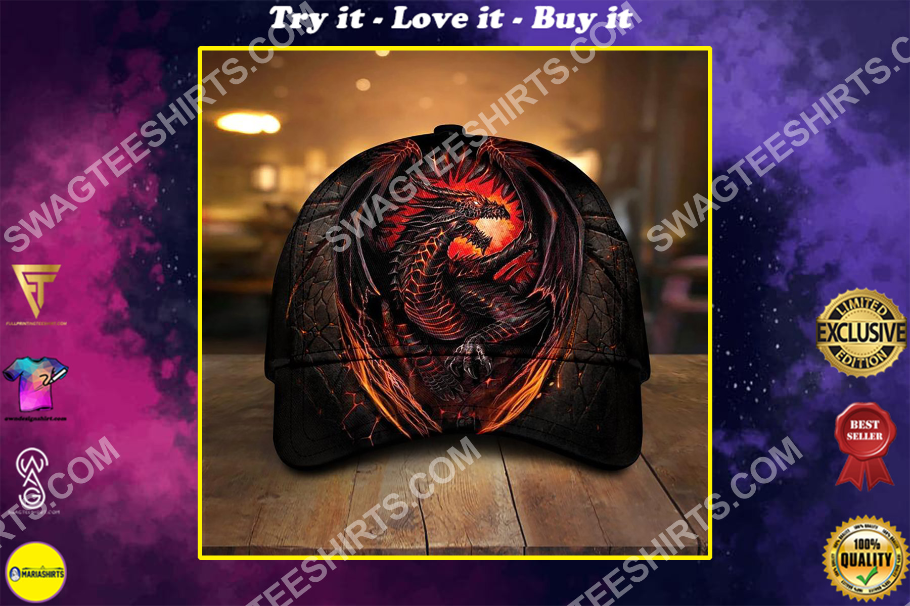 dragon with fire all over printed classic cap