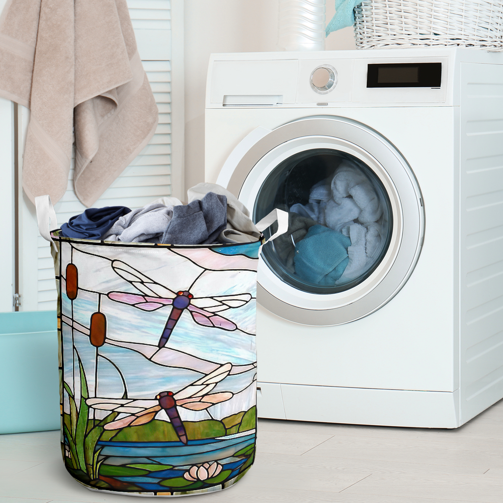 dragonfly all over printed laundry basket 2