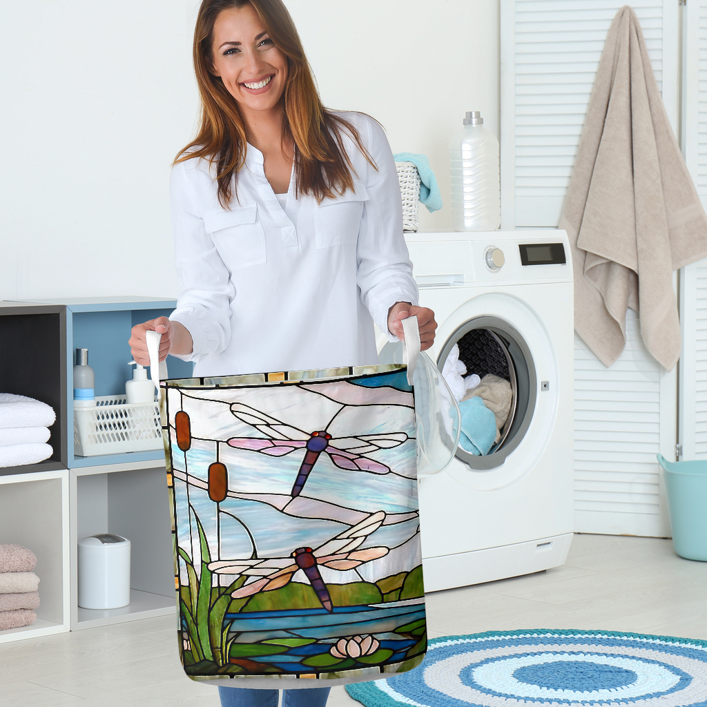 dragonfly all over printed laundry basket 5