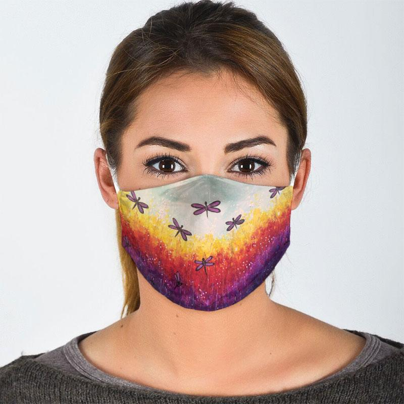 dragonfly floral landscape all over print face mask 3