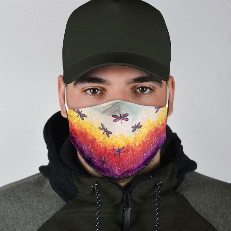dragonfly floral landscape all over print face mask 5