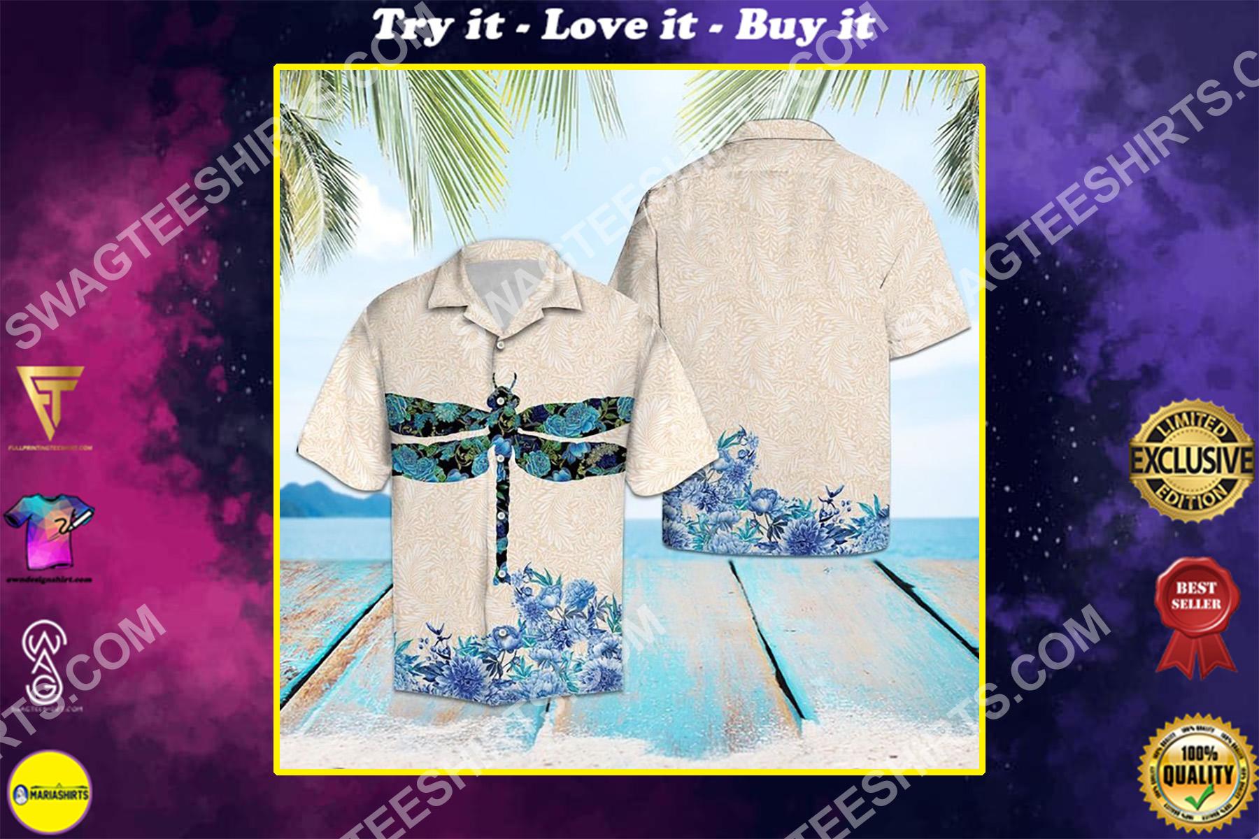 dragonfly flower all over printed hawaiian shirt