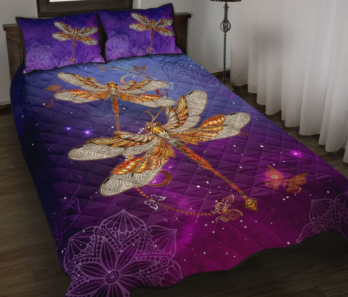 dragonfly in the night full over print quilt 2