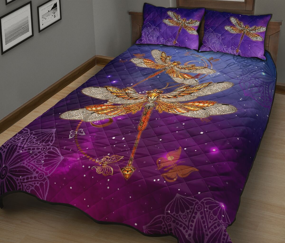 dragonfly in the night full over print quilt 3