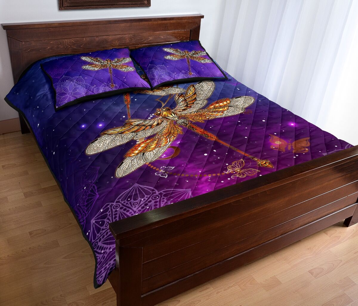 dragonfly in the night full over print quilt 4