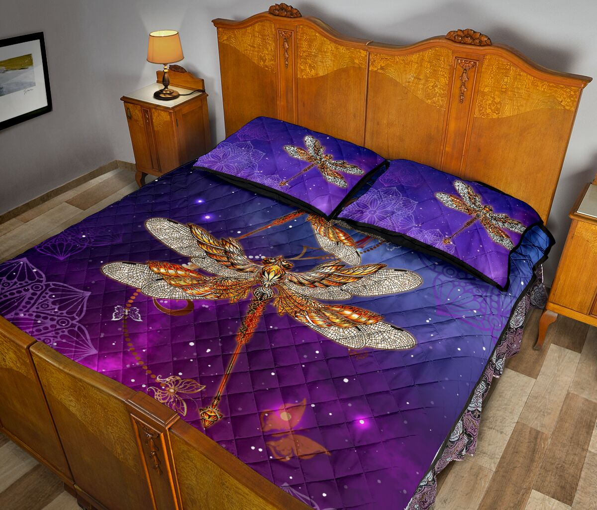 dragonfly in the night full over print quilt 5