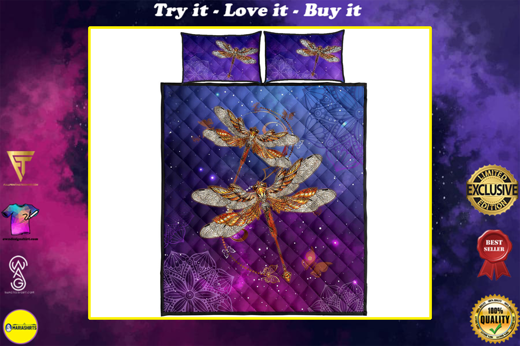 dragonfly in the night full over print quilt