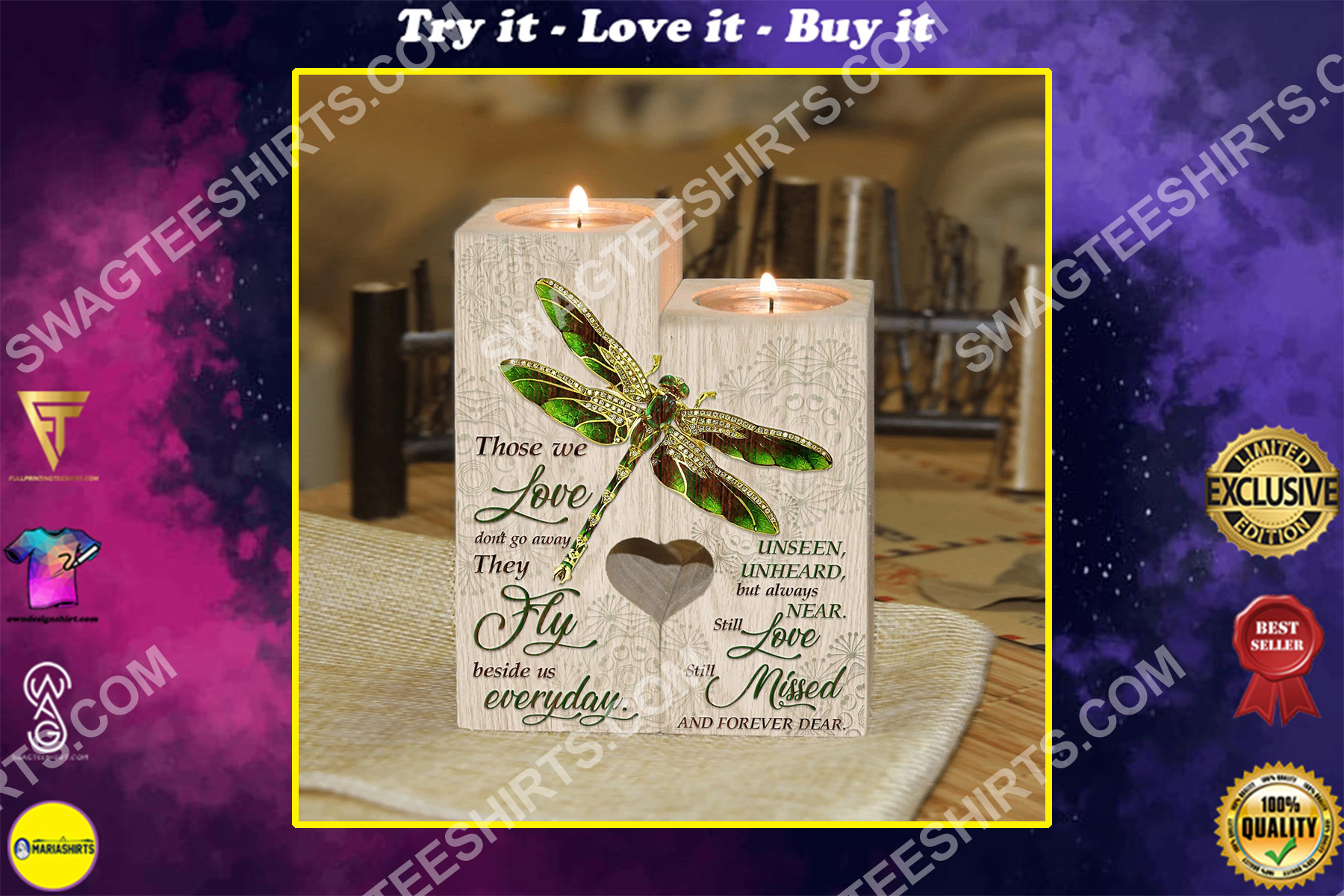 dragonfly those we love dont go away they walk beside us everyday candle holder