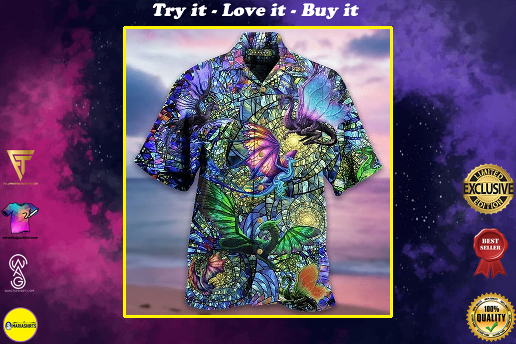 dragons crystal all over printed hawaiian shirt