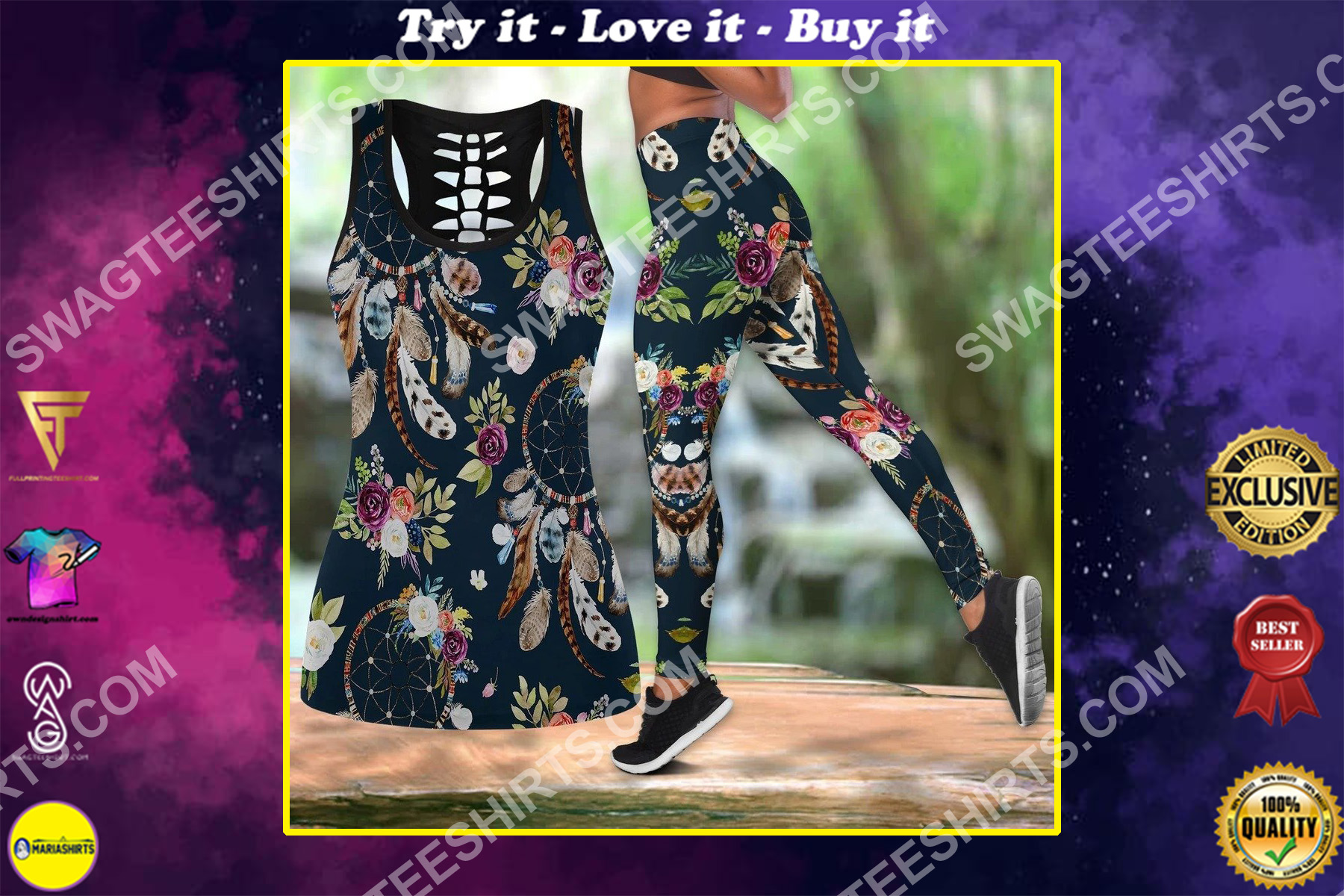 dreamcatcher floral all over printed set sports outfit