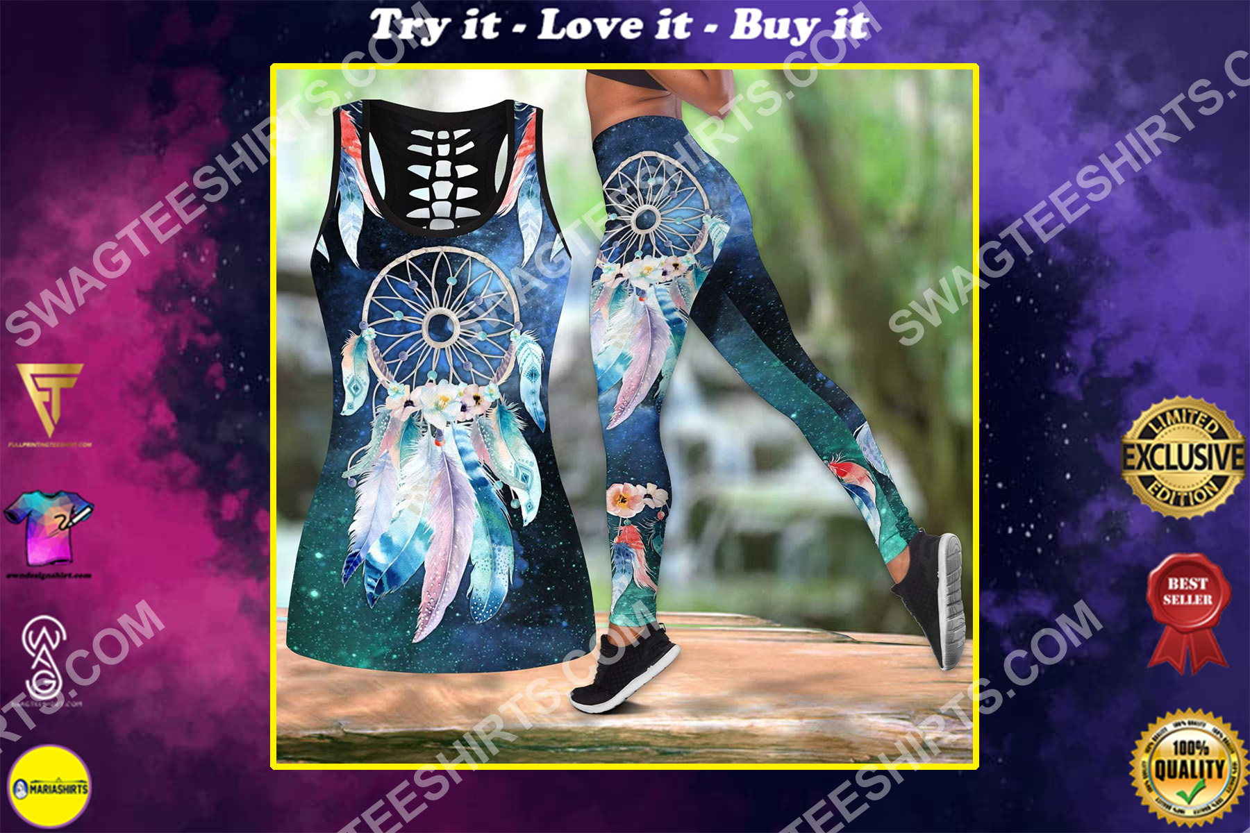 dreamcatcher galaxy all over printed set sports outfit