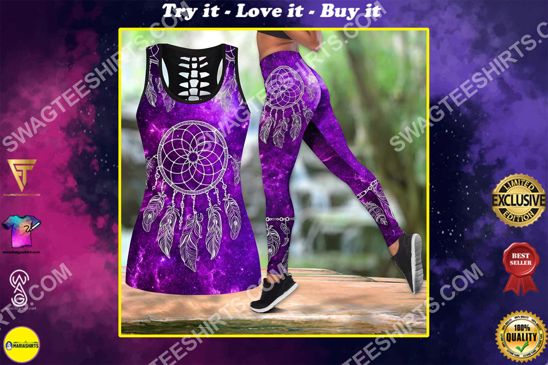 dreamcatcher galaxy purple all over printed set sports outfit
