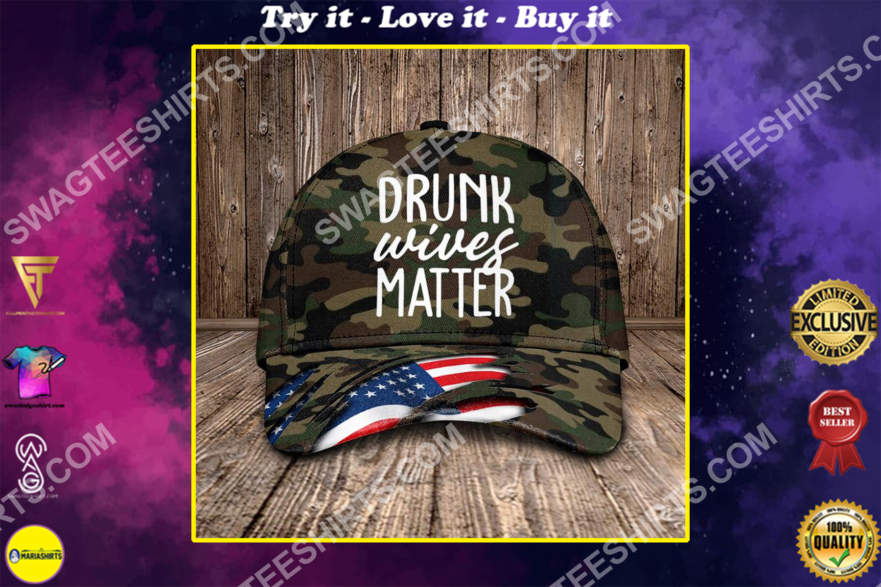 drunk wives matter all over printed classic cap