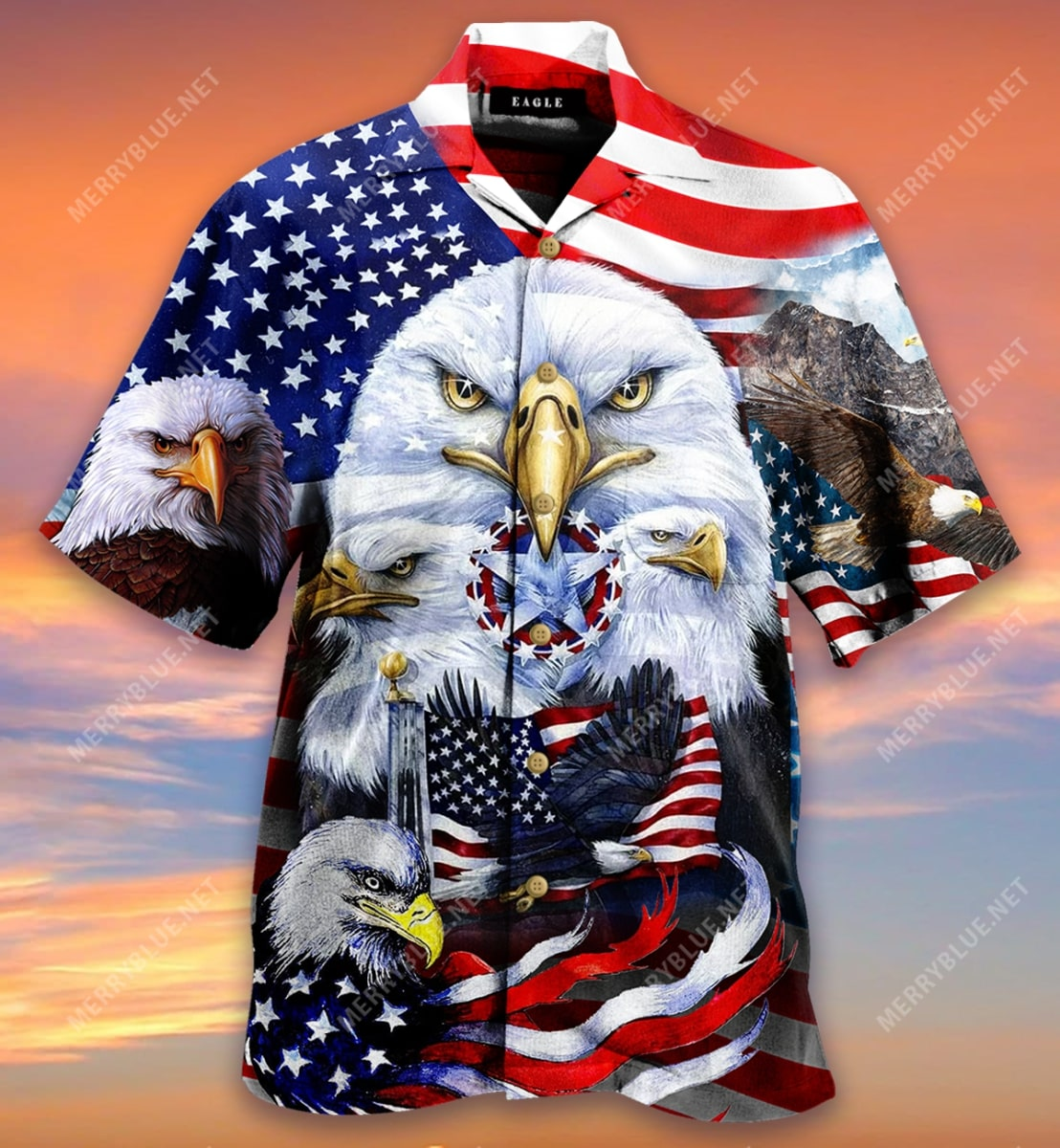 eagles patriotic american flag all over printed hawaiian shirt 2