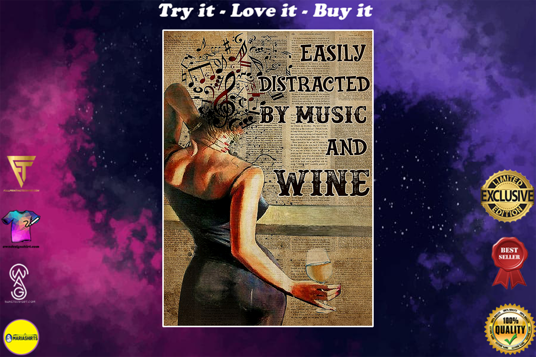 easily distracted by music and white wine book page vintage poster