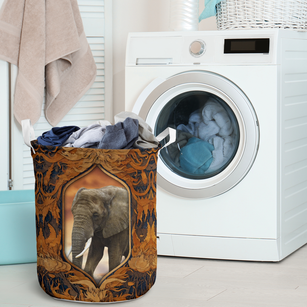 elephant all over printed laundry basket 2