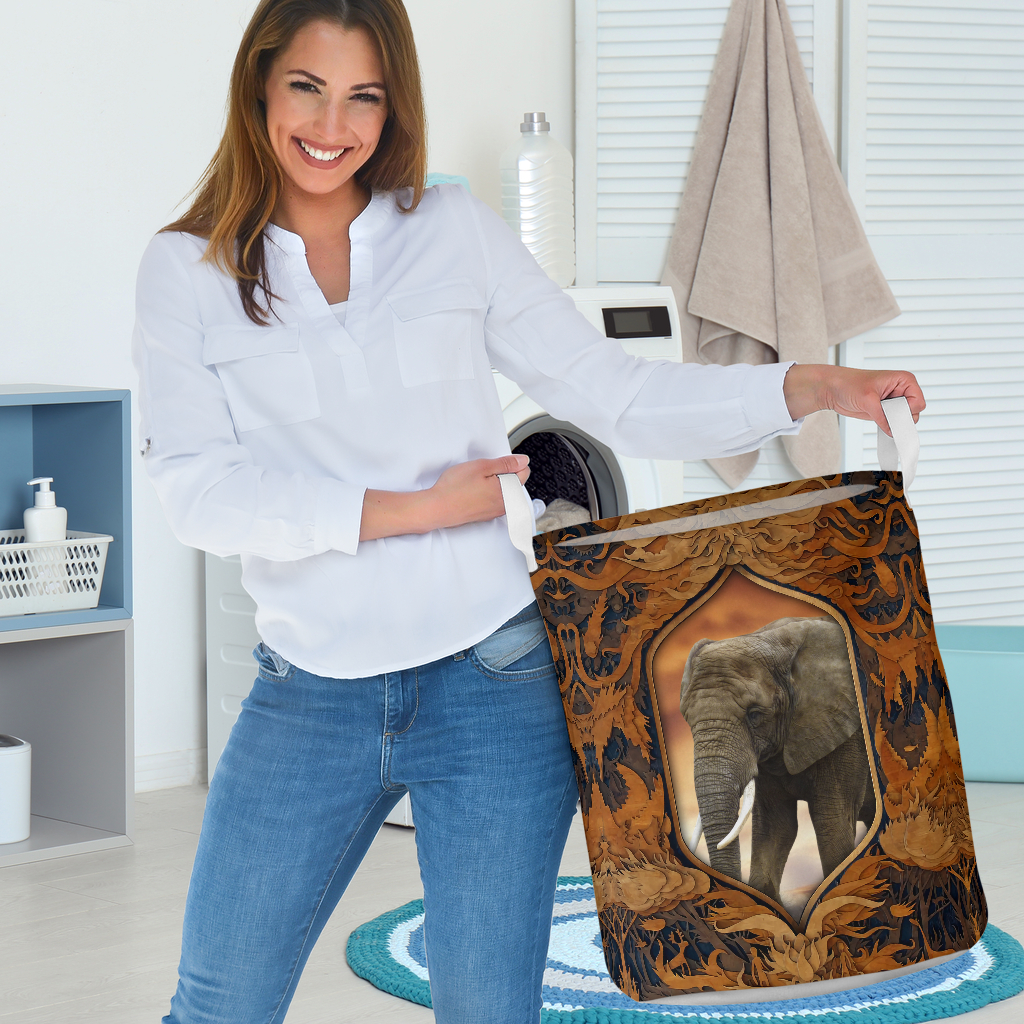 elephant all over printed laundry basket 3