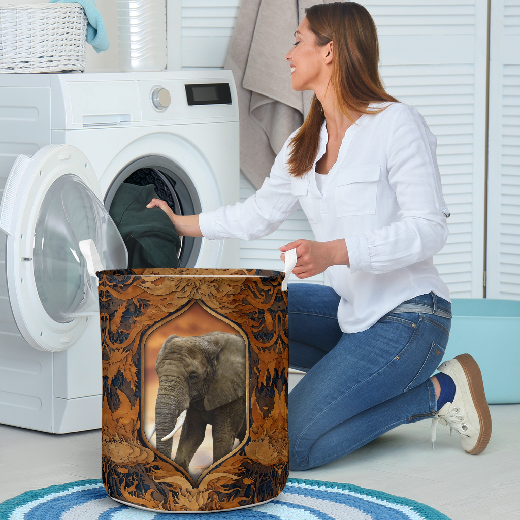elephant all over printed laundry basket 4