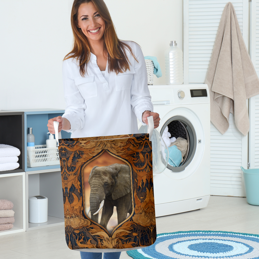 elephant all over printed laundry basket 5