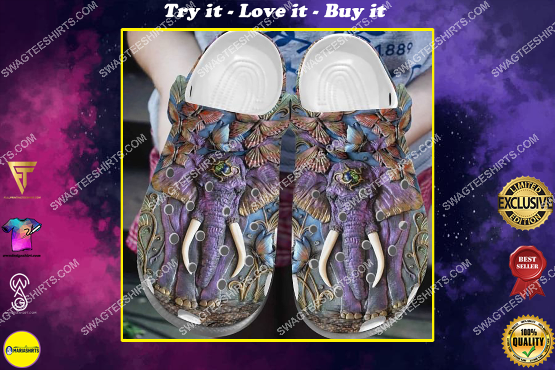 elephant and butterfly all over printed crocs