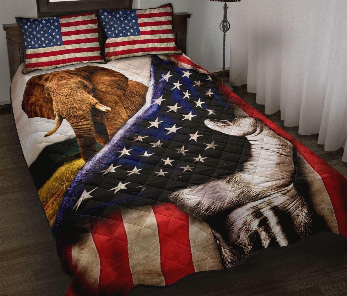 elephant in american flag full over print quilt 2