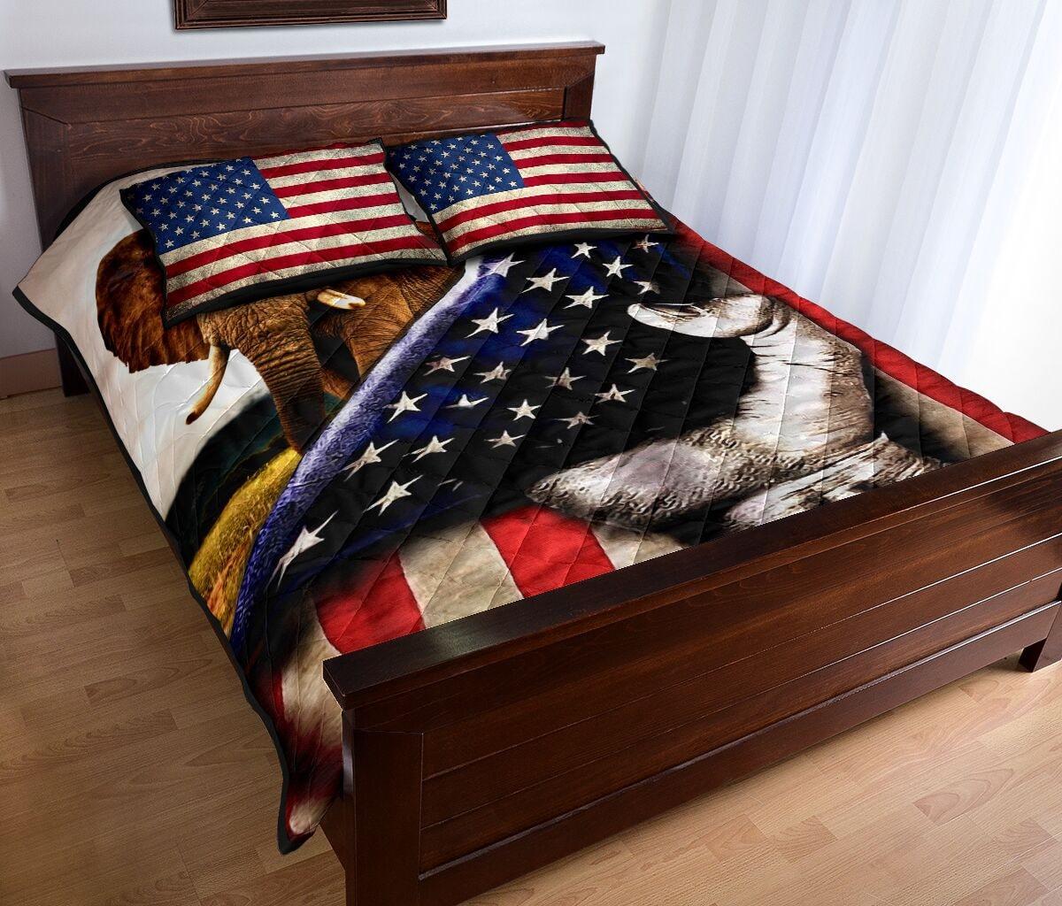 elephant in american flag full over print quilt 4