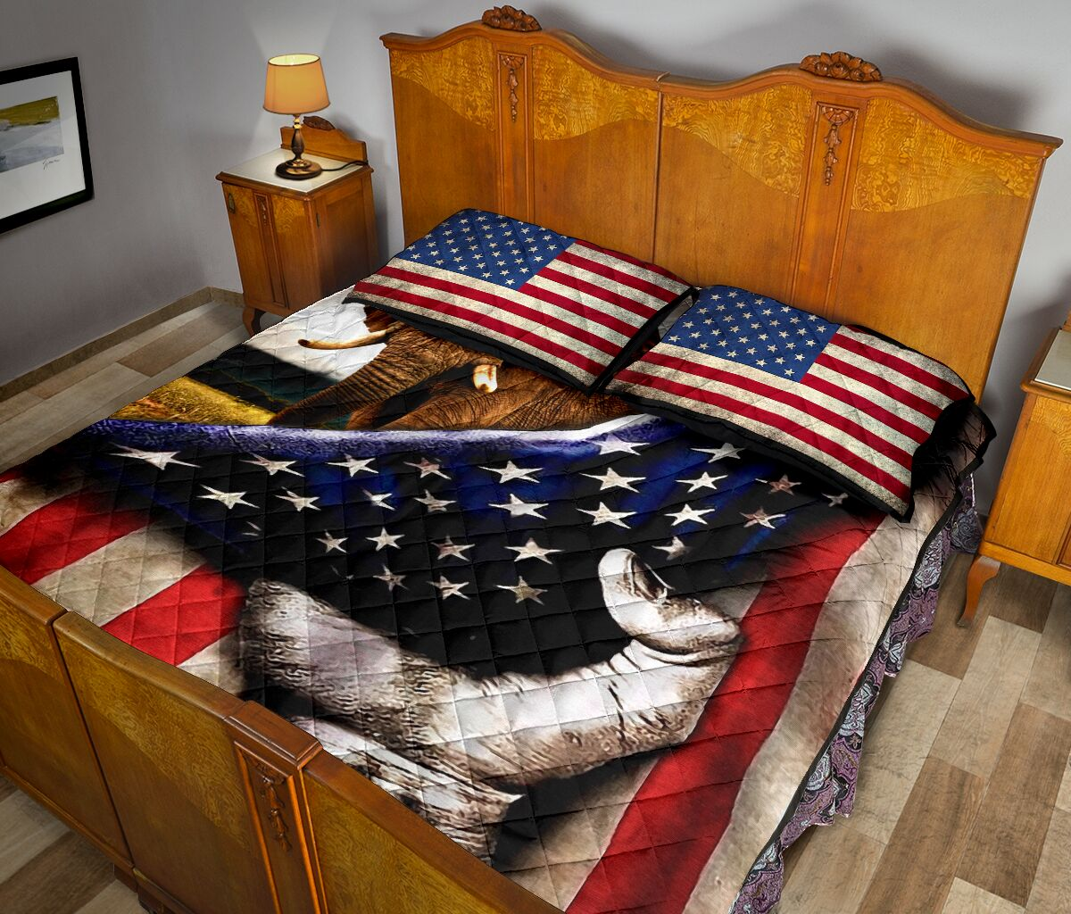 elephant in american flag full over print quilt 5