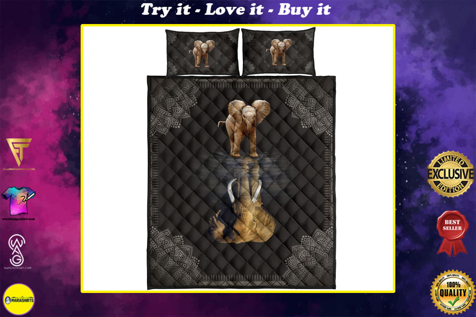 elephant water reflection full over print quilt