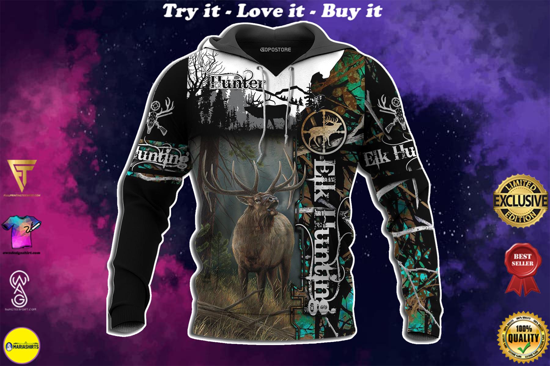 elk hunting love hunter full over printed shirt