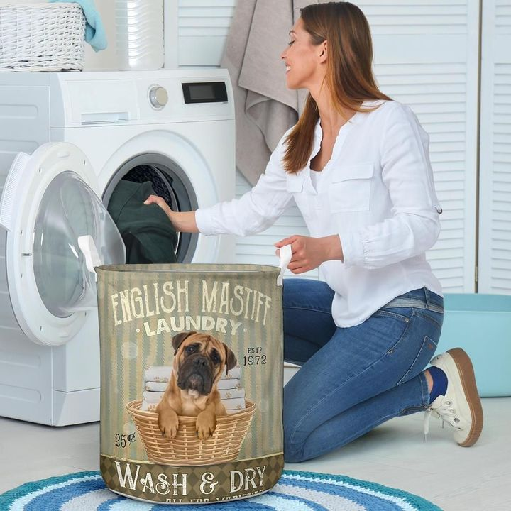english mastiff wash and dry all over print laundry basket 4