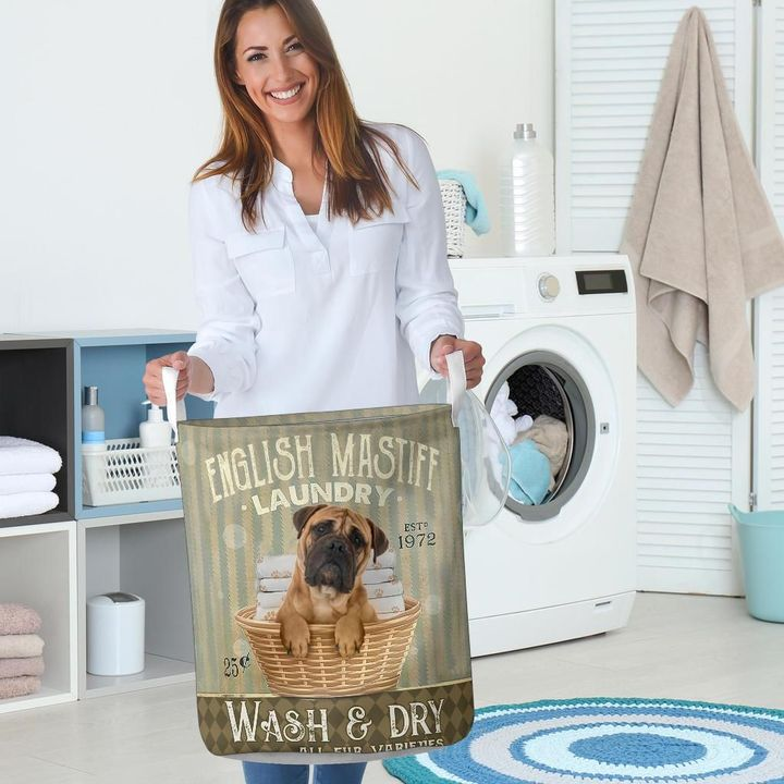 english mastiff wash and dry all over print laundry basket 5