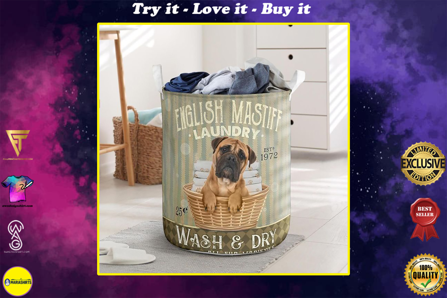 english mastiff wash and dry all over print laundry basket