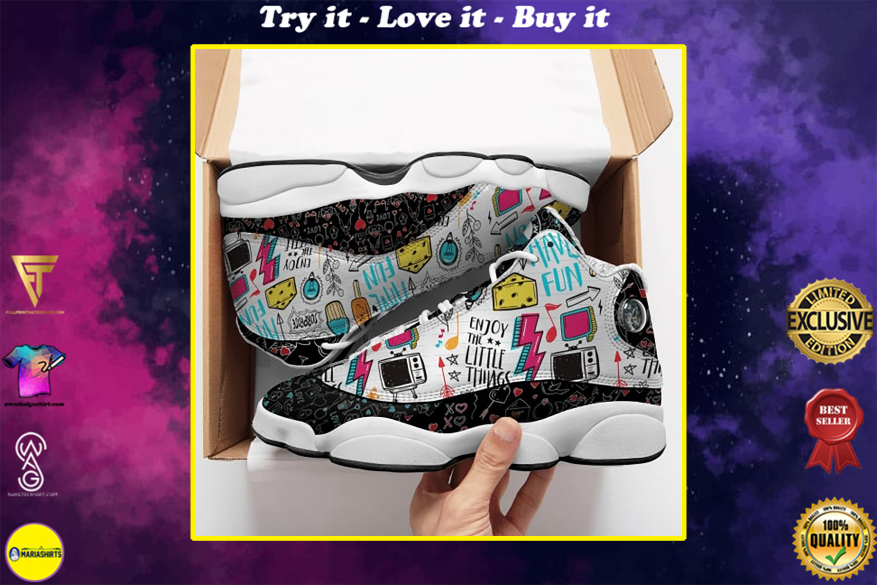 enjoy the little things all over printed air jordan 13 sneakers