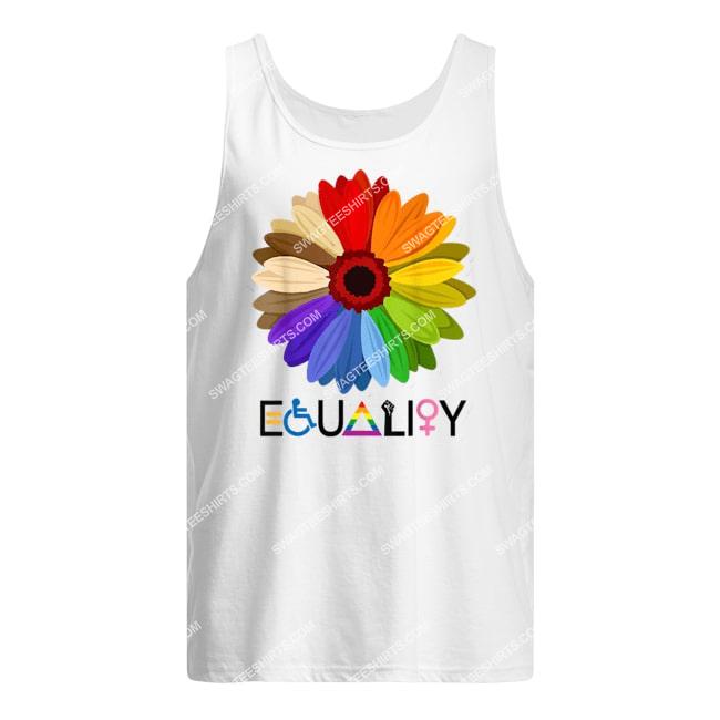 equality flower rainbow retro gay lesbian pride lgbt tank top 1
