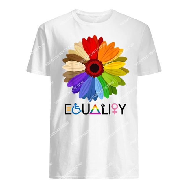 equality flower rainbow retro gay lesbian pride lgbt tshirt 1
