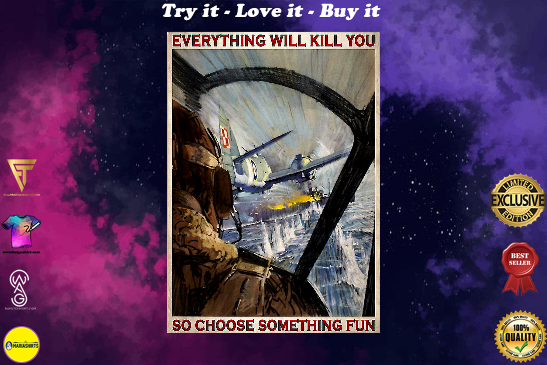 everything will kill you so choose something fun aircraft vintage poster